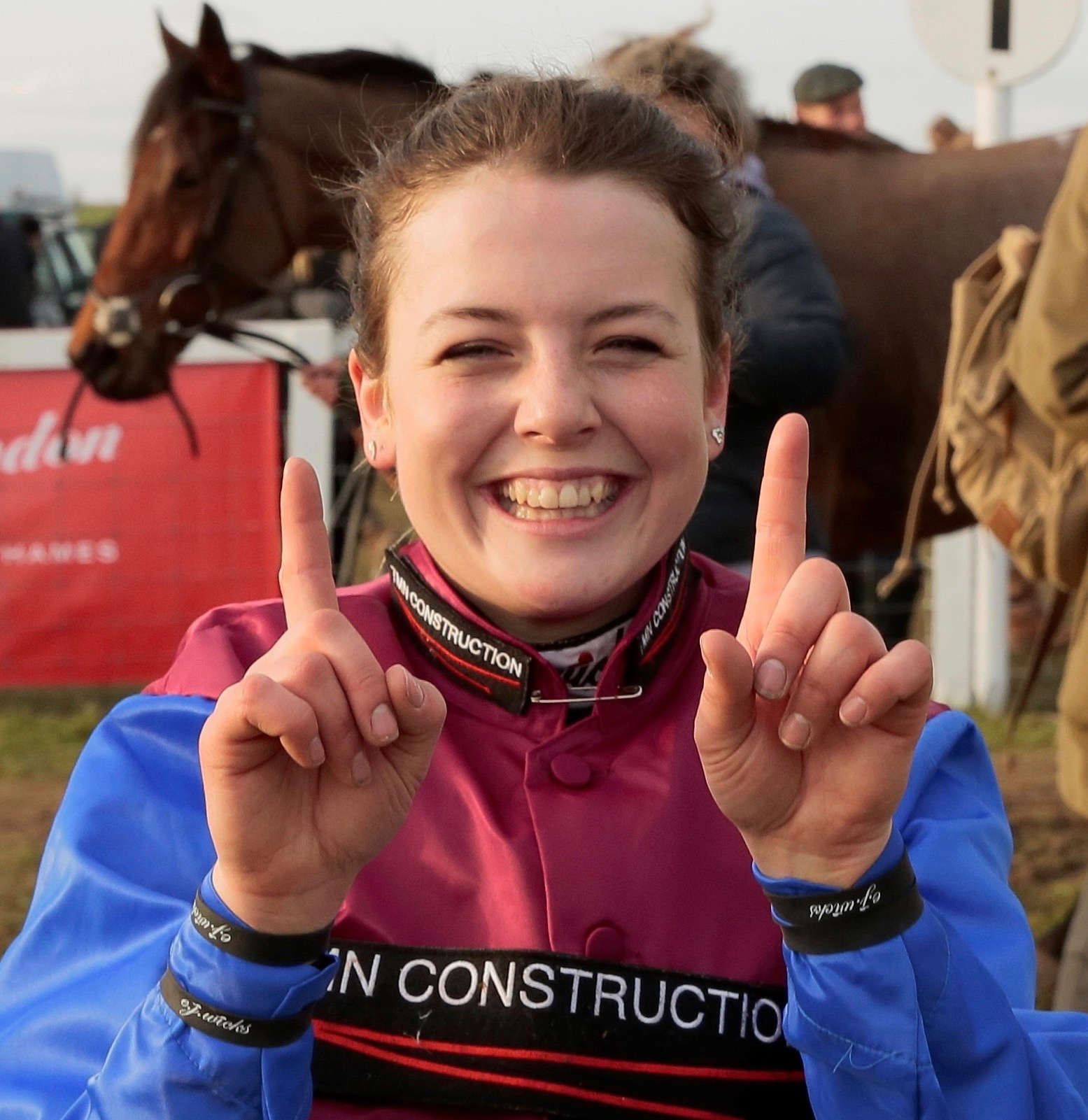 Vine & Craven point to point meeting, Sunday, February 14. Race seven is winning jockey Page Fuller celebrating